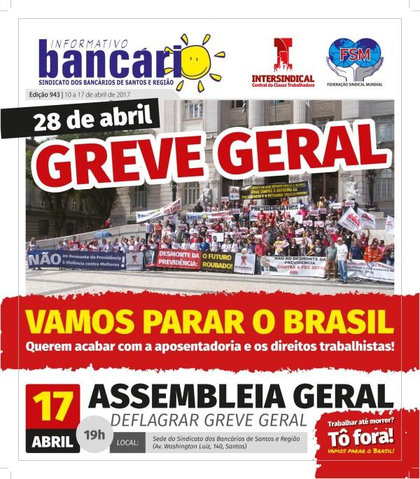 28 de abril - Greve Geral: Vamos parar o Brasil