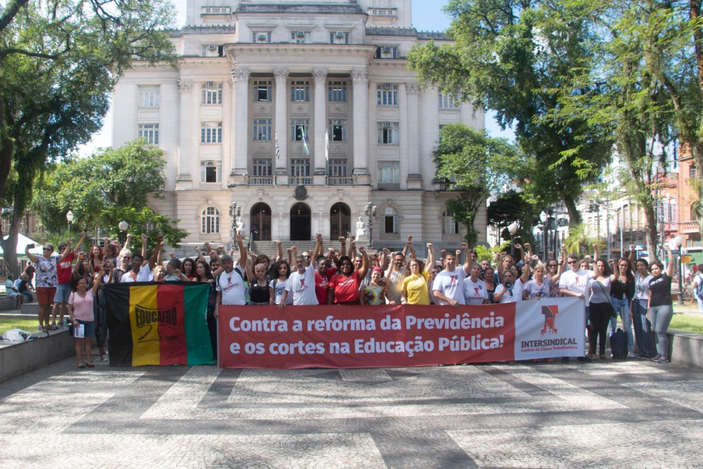 Bancários protestam em defesa da educação e da aposentadoria!!!