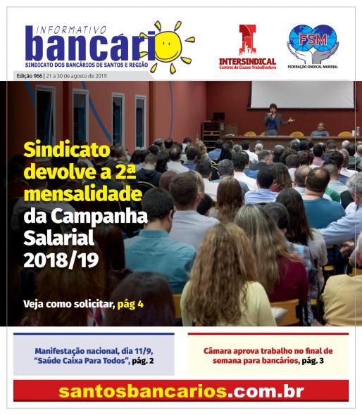 Sindicato devolve a 2ª mensalidade da Campanha Salarial 2018/19