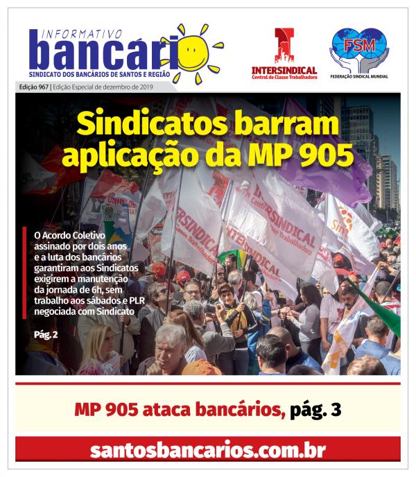 Sindicatos barram aplicação da MP 905