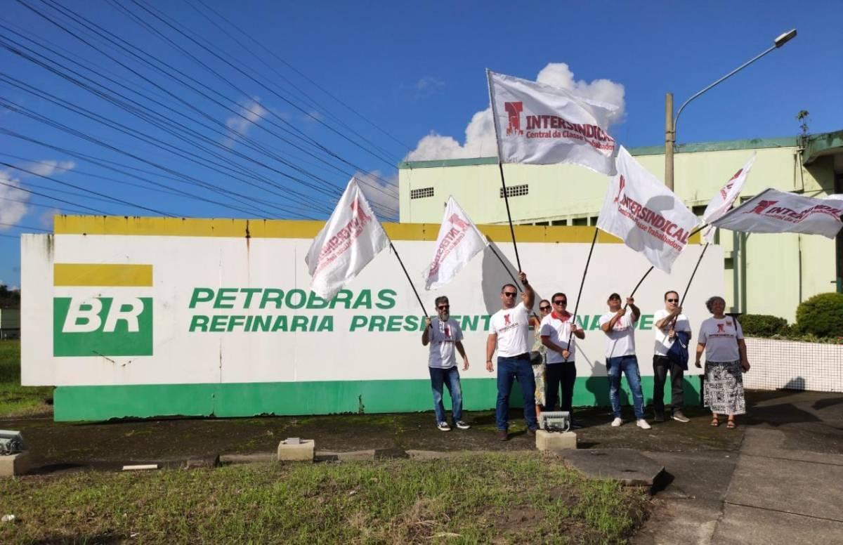 Intersindical e bancários de Santos e Região na luta com petroleiros!