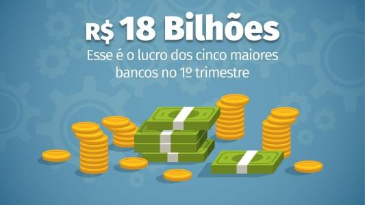 Soma do lucro dos cinco maiores bancos do país chega a R$ 18 bilhões