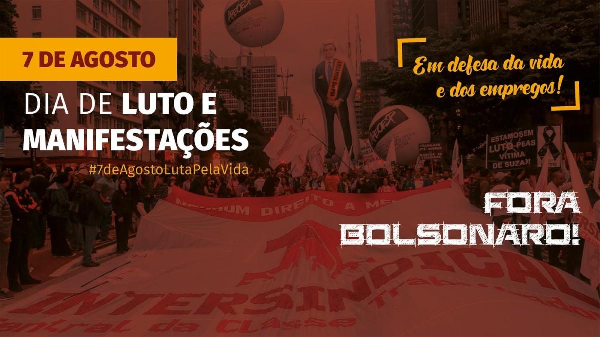 Intersindical faz protesto em Santos pelos 100 mil mortos no Brasil