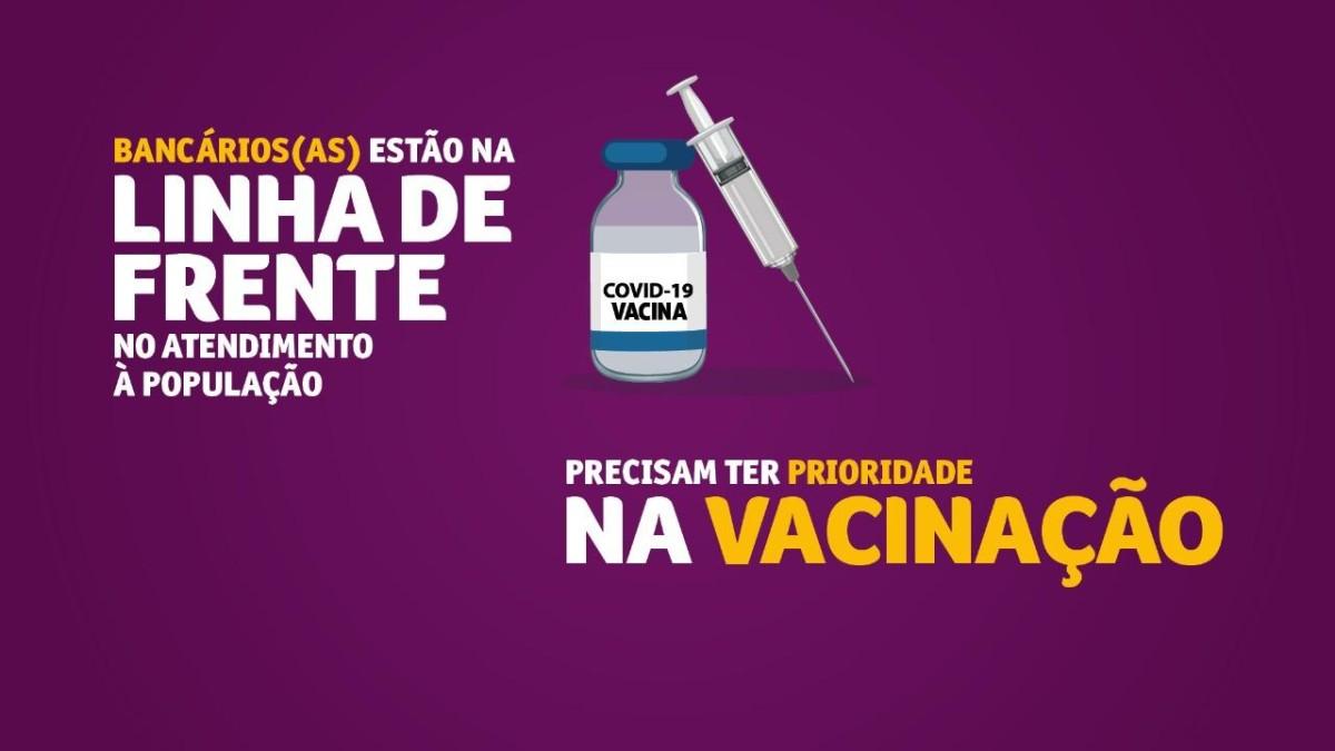 """Campanha do sindicato: """"Prioridade na vacinação para os bancários!"""""""