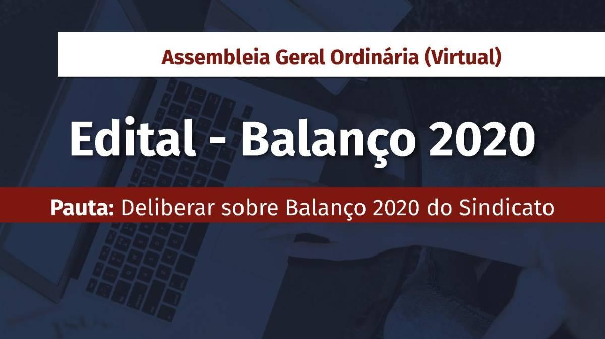 Assembleia Geral Ordinária sobre Balanço 2020 acontece nesta sexta, 30/4