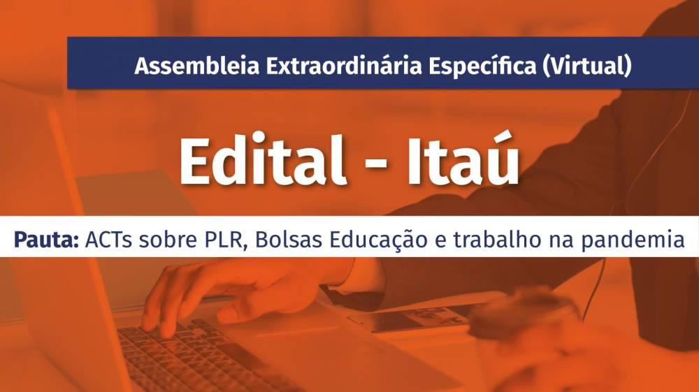 Bancários do Itaú têm assembleia extraordinária virtual dias 13 e 14/5