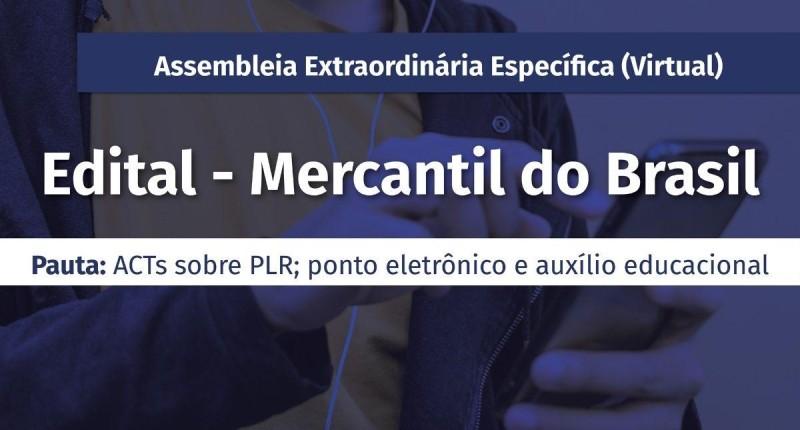 Bancários do Mercantil têm assembleia extraordinária virtual dias 29 e 30/6