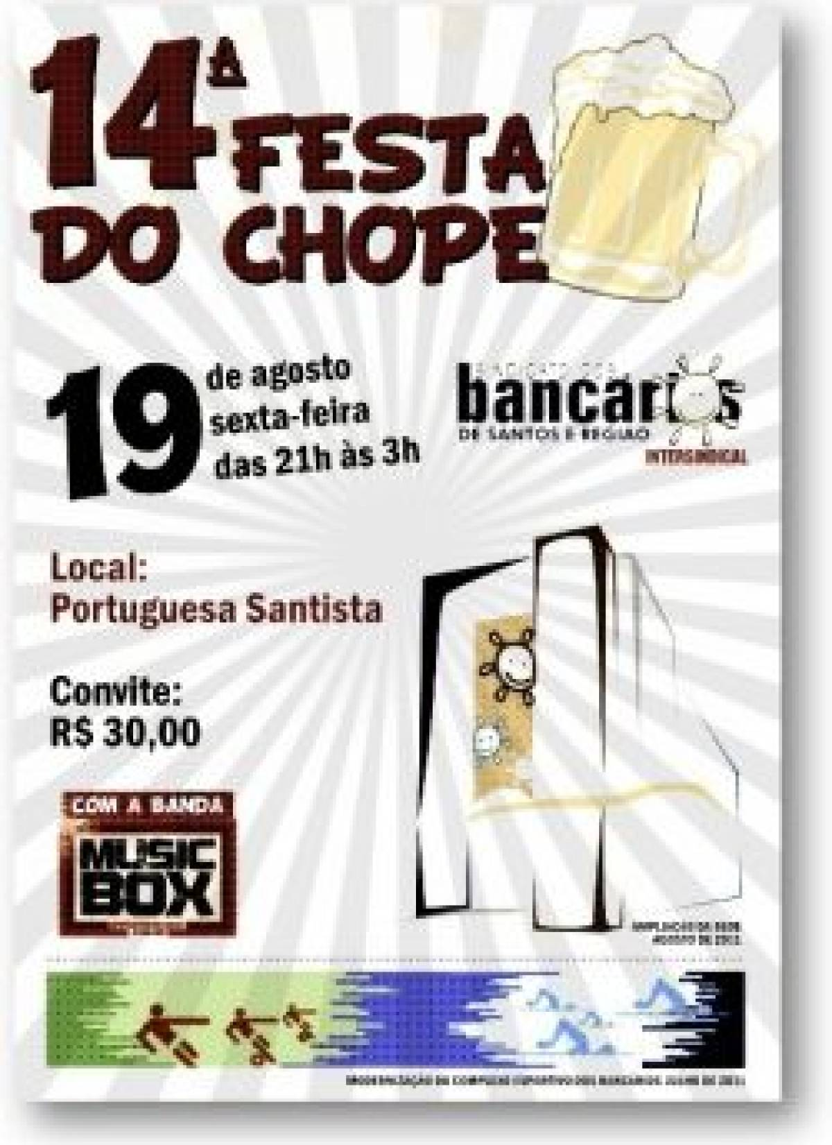 Hoje é dia da 14ª Festa do Chope -  Dia do Bancário
