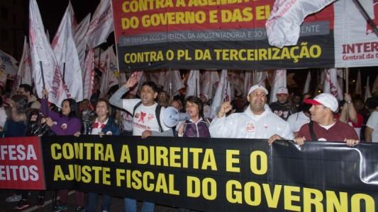 Intersindical marcha por direitos, contra direita e ajustes do governo