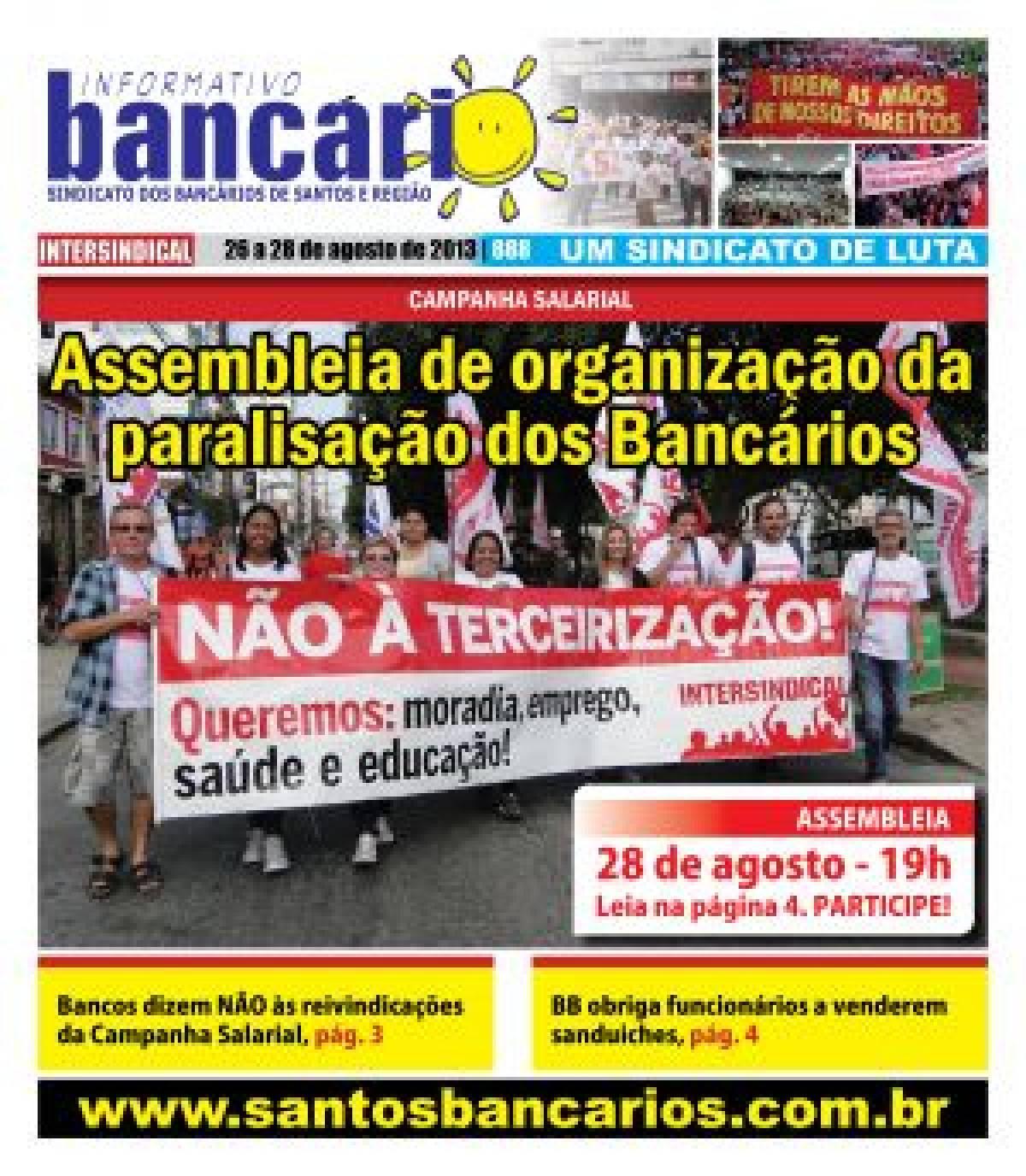 Assembleia de organização da paralisação dos Bancários