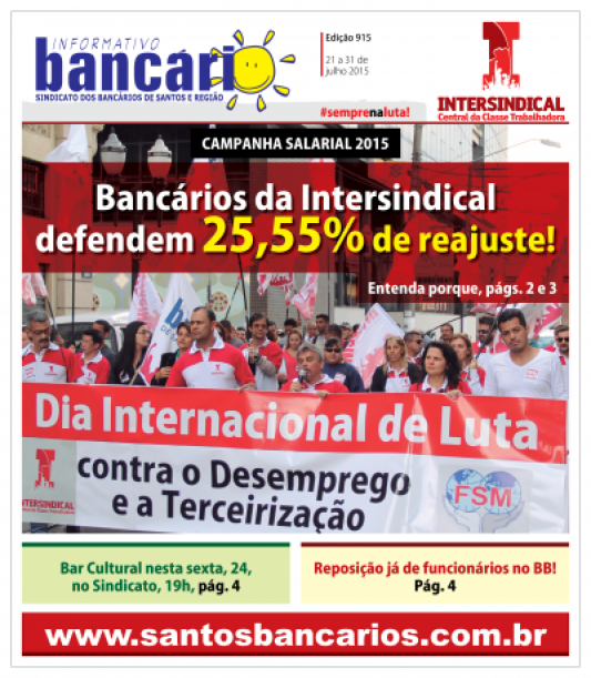 Bancários da Intersindical defendem 25,55% de reajuste!