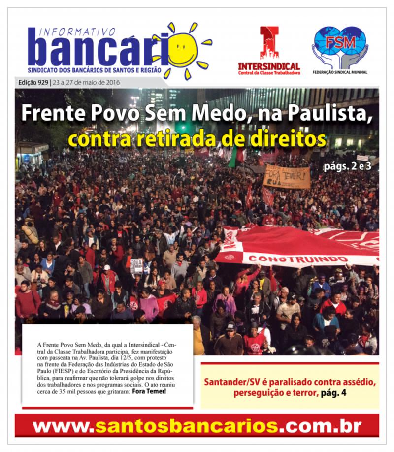 Frente Povo Sem Medo, na Paulista, contra retirada de direitos