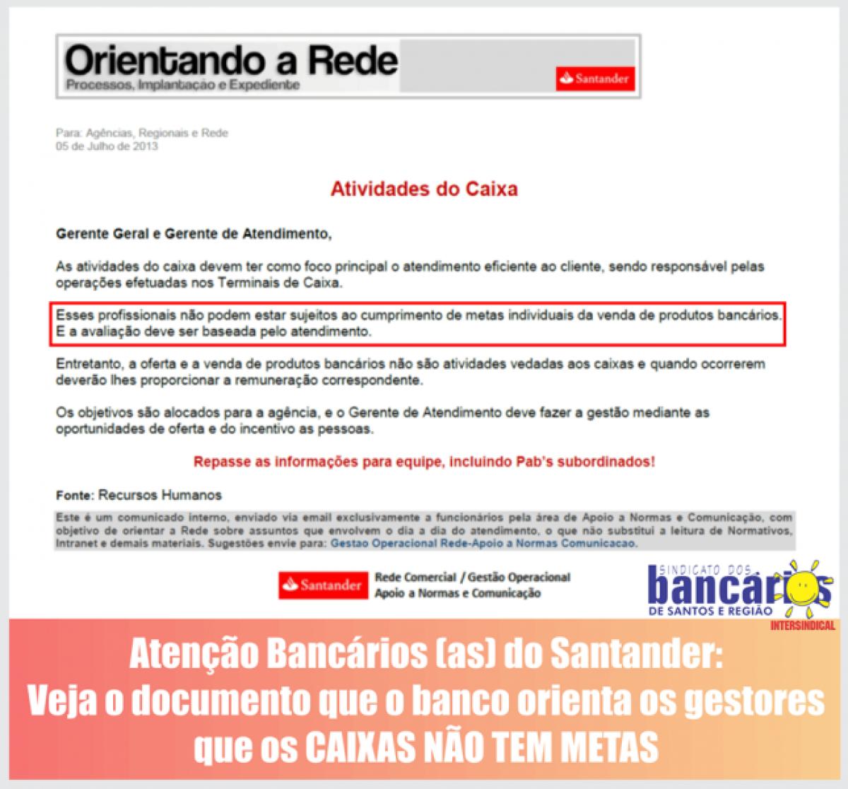 RH do Santander afirma: caixa não pode ter metas