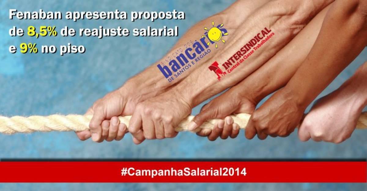 Fenaban apresenta proposta de reajuste salarial de 8,5% e 9% para o piso