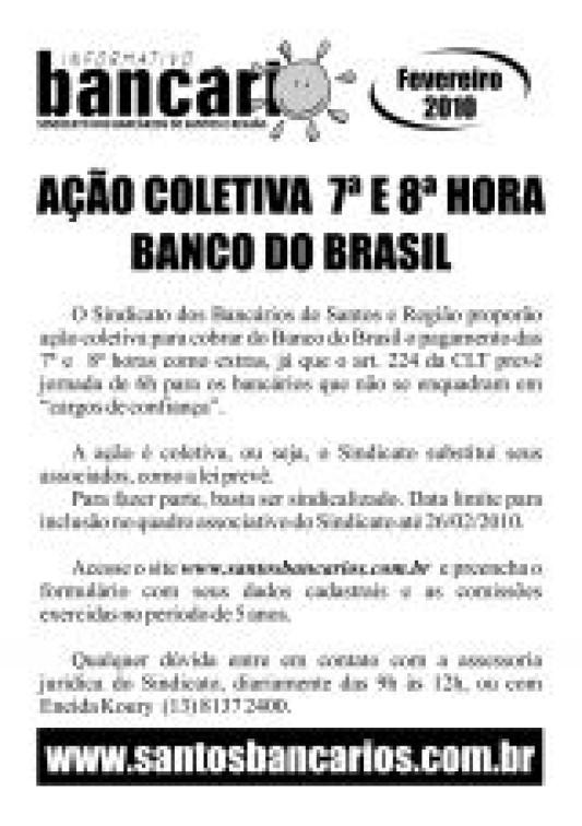 Ação coletiva de 7ª e 8ª hora do Banco do Brasil