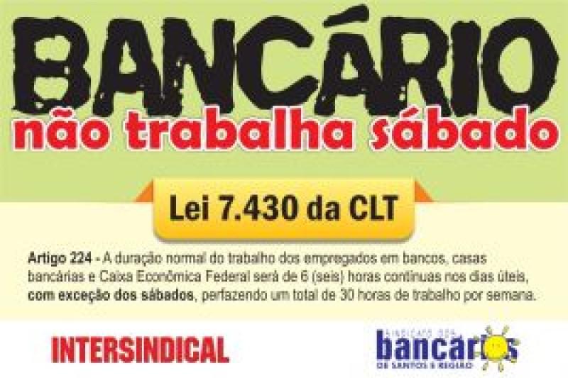 Bancários farão manifestação e passeata nesta quinta-feira, dia 31/05, no Centro de Santos
