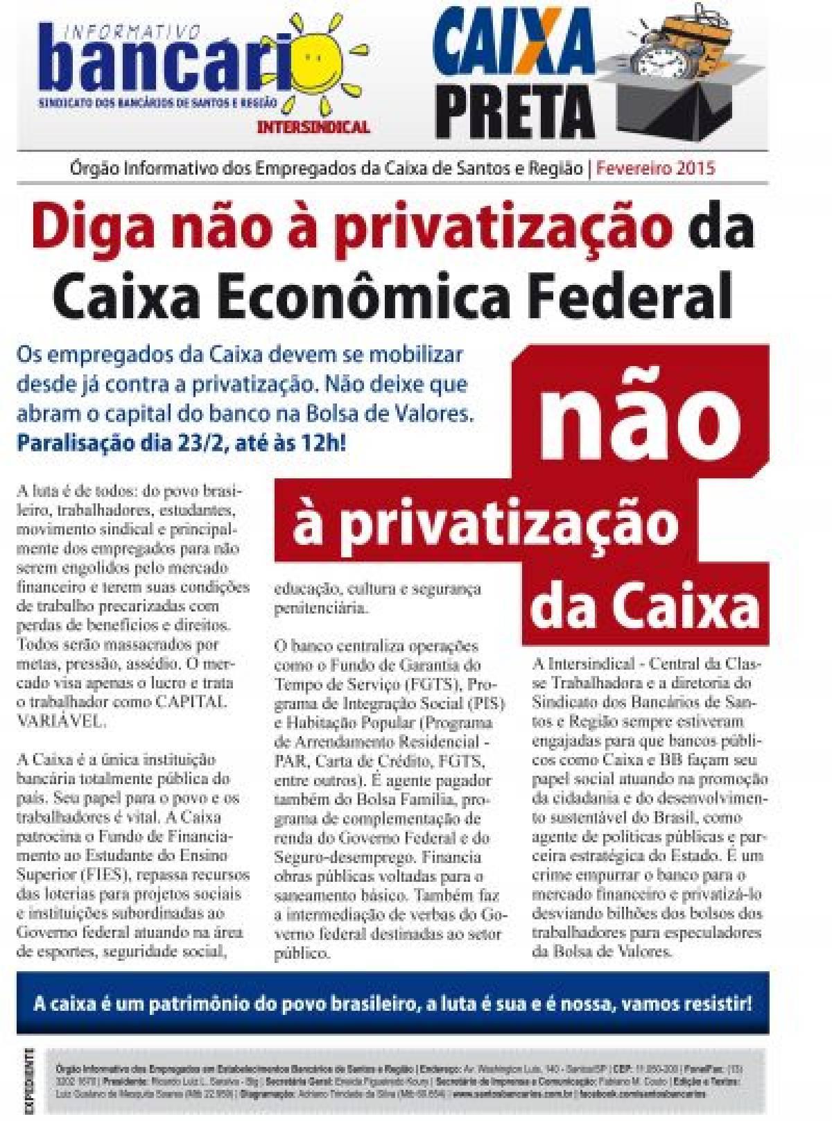 Diga não à privatização da Caixa Econômica Federal