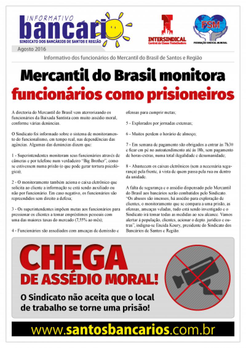 Mercantil do Brasil monitora funcionários como prisioneiros