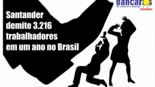 Bancários repudiam corte de 3,2 mil empregos em um ano no Santander