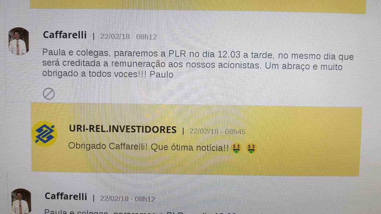 BB: Em rede social interna, Cafarelli anuncia PLR para dia 12 de março