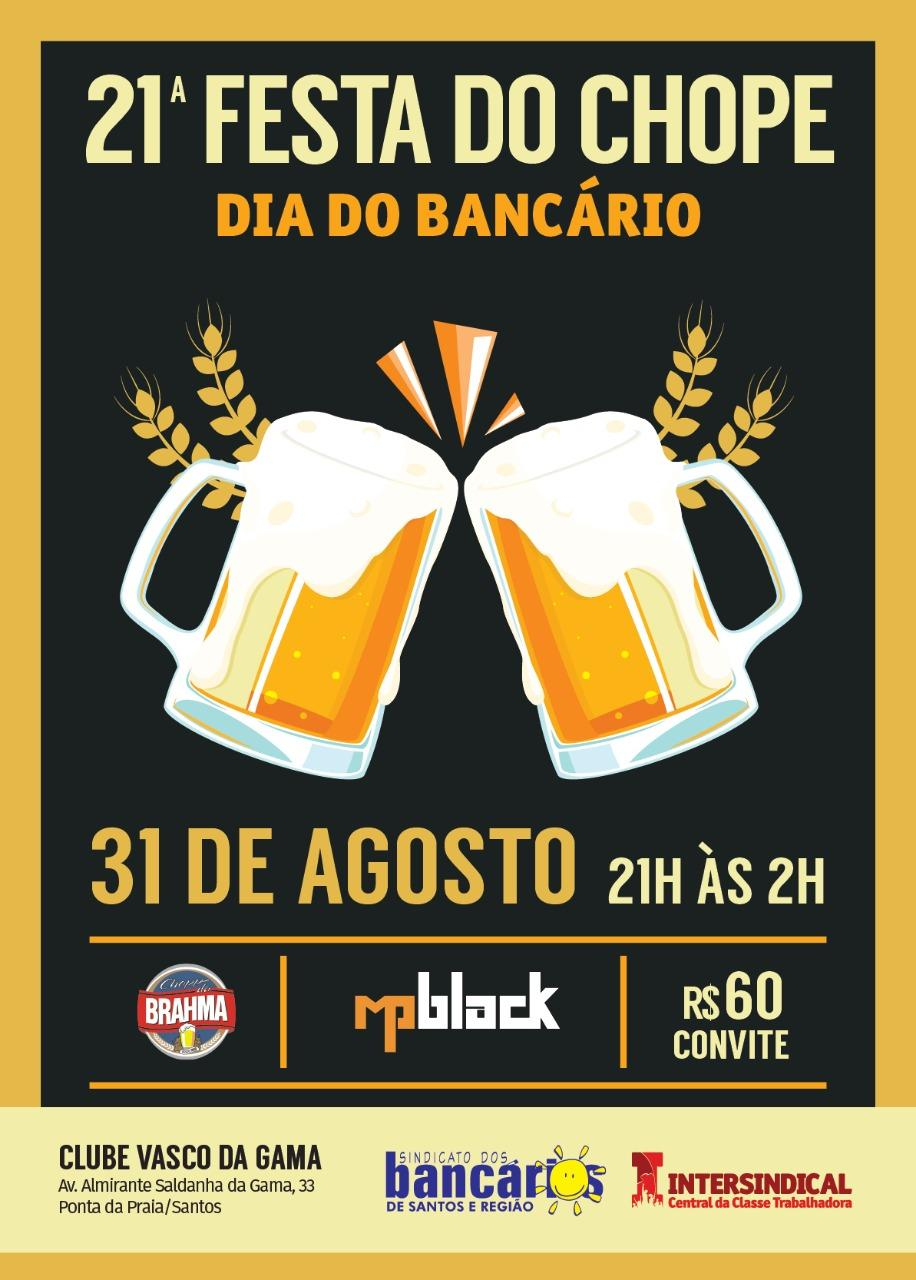 Festa do Chope dia 31 de agosto