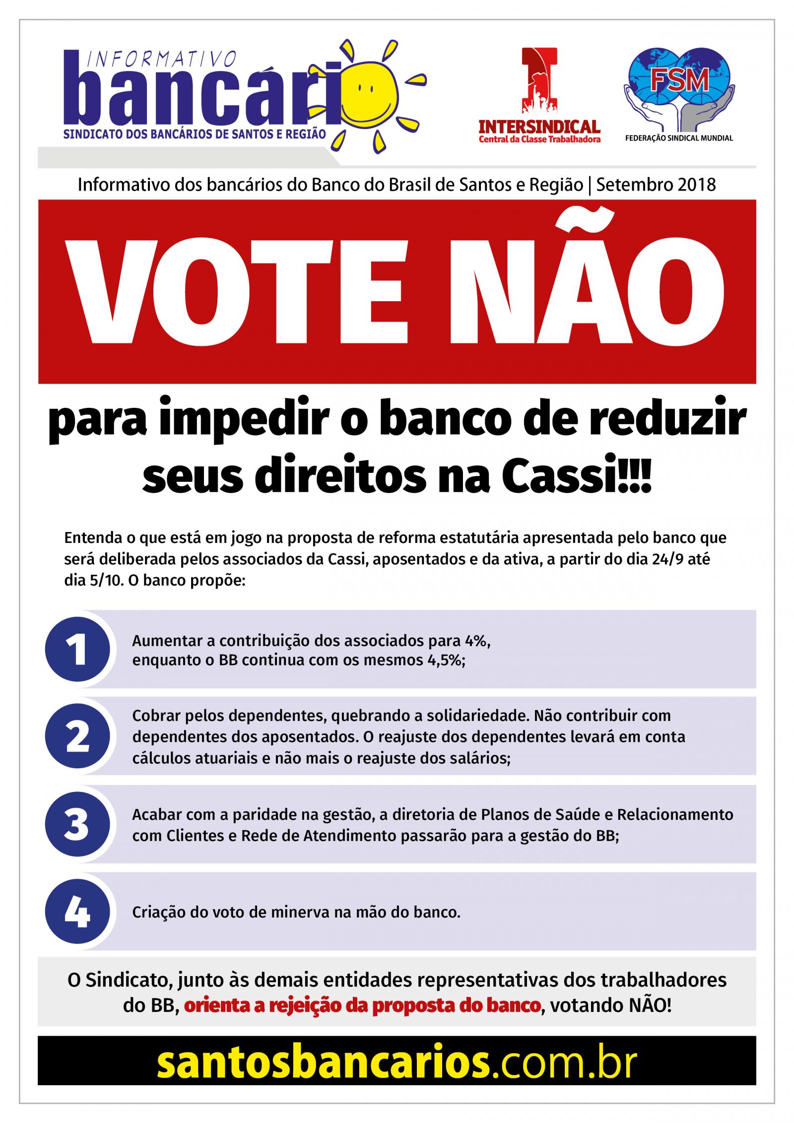 Vote não para impedir o banco de reduzir seus direitos na Cassi!