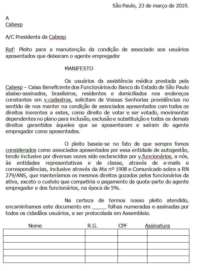 Cabesp: um manifesto em favor dos autopatrocinados