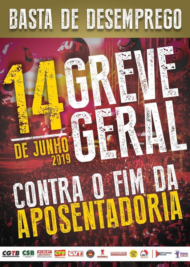 Dia 14 de junho é greve geral contra o fim da aposentadoria!