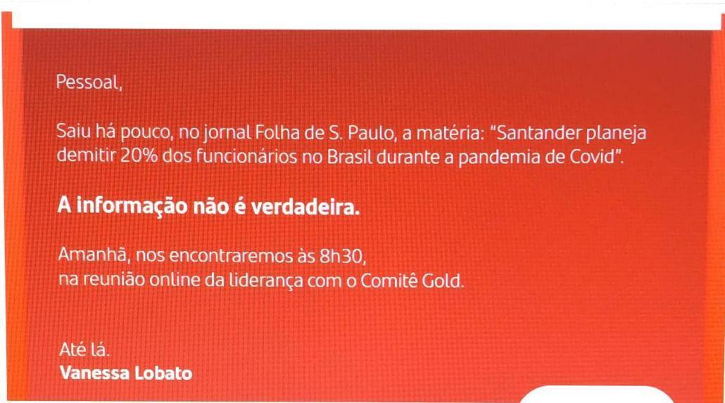 Santander Brasil nega planos para demissões em massa